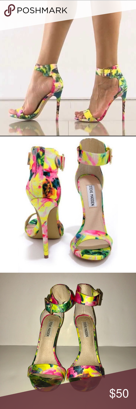 52605136ecf Steve Madden multi color floral heels Amazing condition only worn a few  times and get compliments