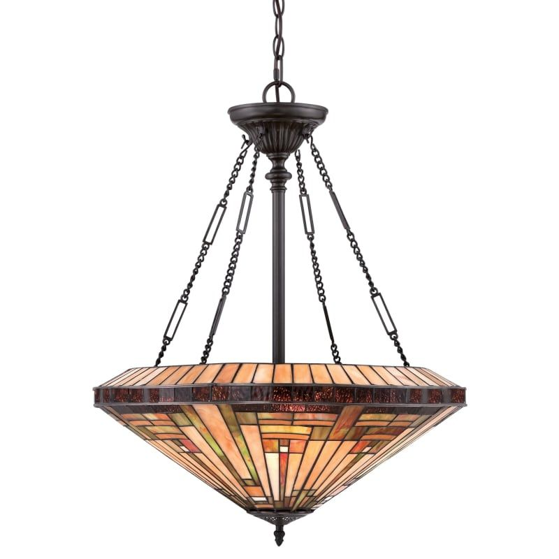 Quoizel Tfst2822 Stephen 4 Light Bowl Pendant With Tiffany Stained Gl Vintage Bronze Indoor Lighting Pendants