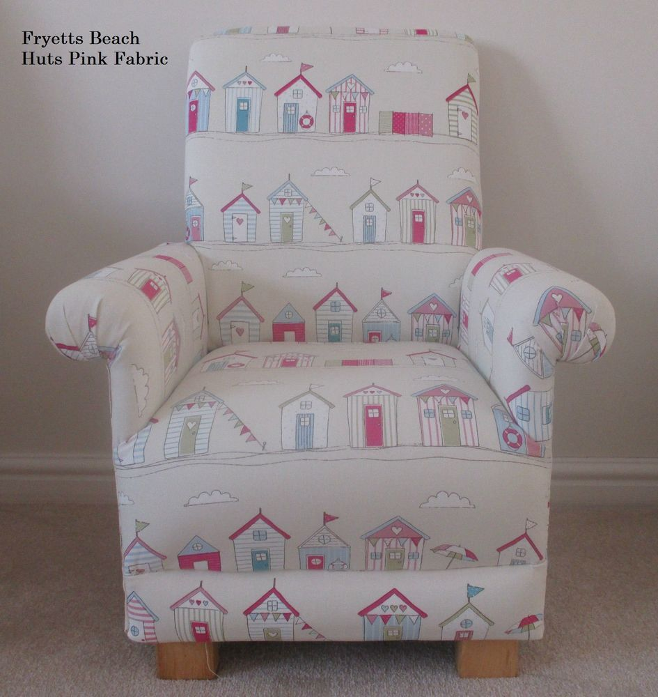 details about fryetts beach huts pink fabric childs chair cream