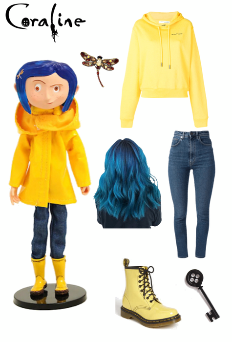Diy Modern Day Coraline Outfit Shoplook In 2020 Cosplay Outfits Coraline Costume Costume Outfits