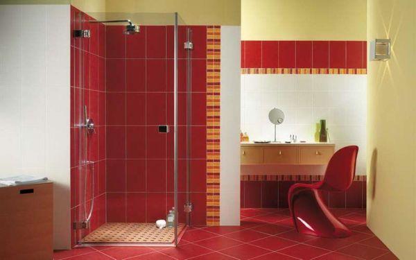 le carrelage mural de salle de bain | carrelage mural, salle de ... - Salle De Bains Rouge