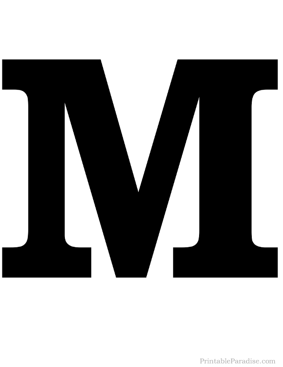 Printable Solid Black Letter M
