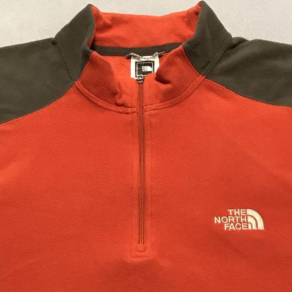 8e6230b80 Men's THE NORTH FACE 1/4 Zip Fleece Pullover Orange/Grey Jacket Size ...