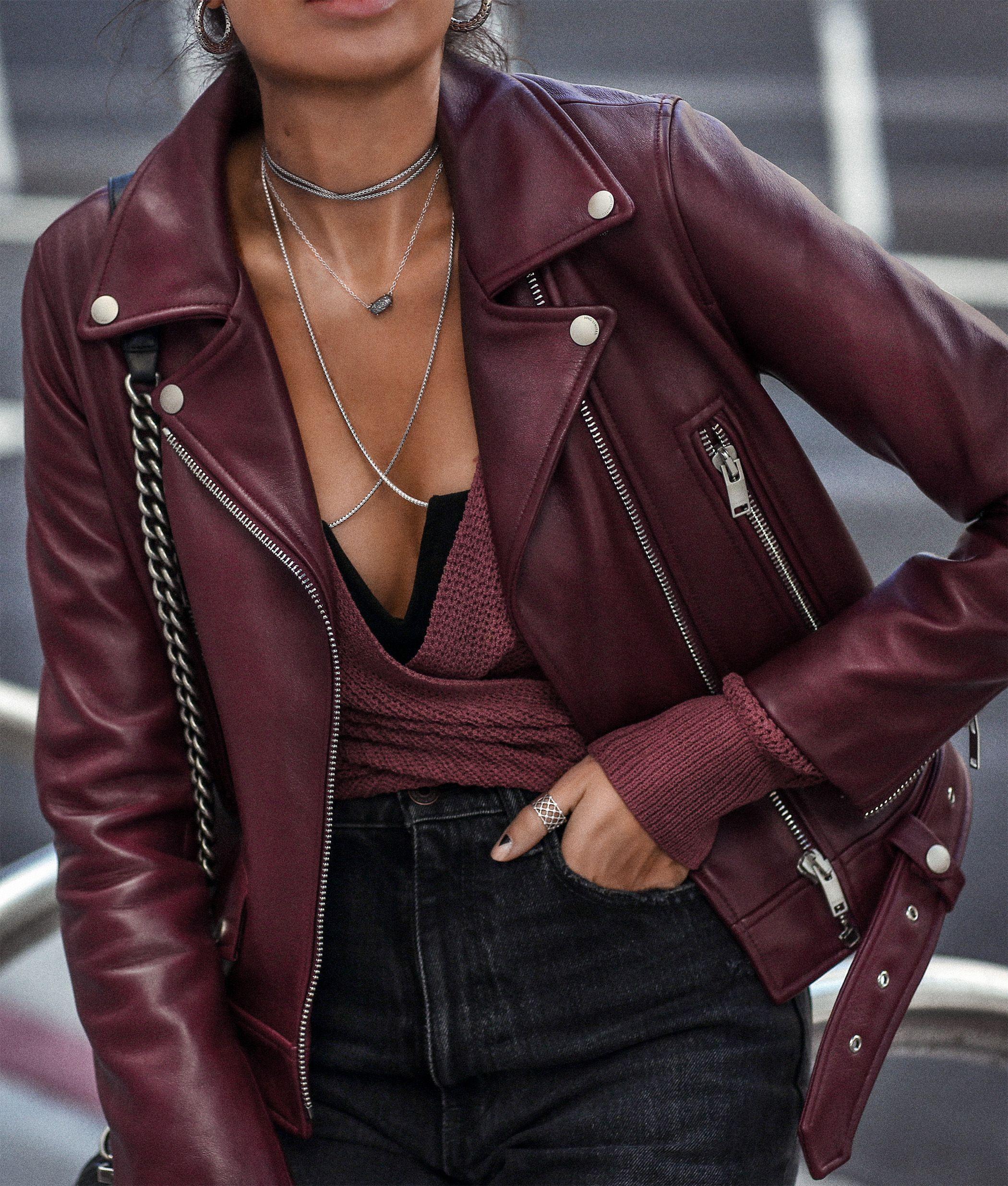 FASHIONEDCHIC Burgundy leather jacket, Leather
