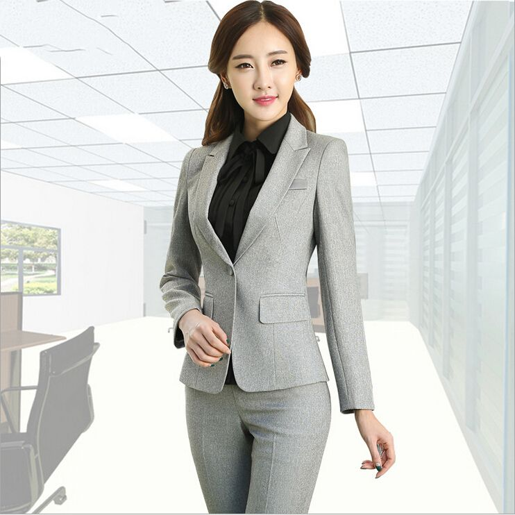 Formal Las Office Uniform Designs Women Suits With Pants And Jackets Trousers Work Wear Blazer