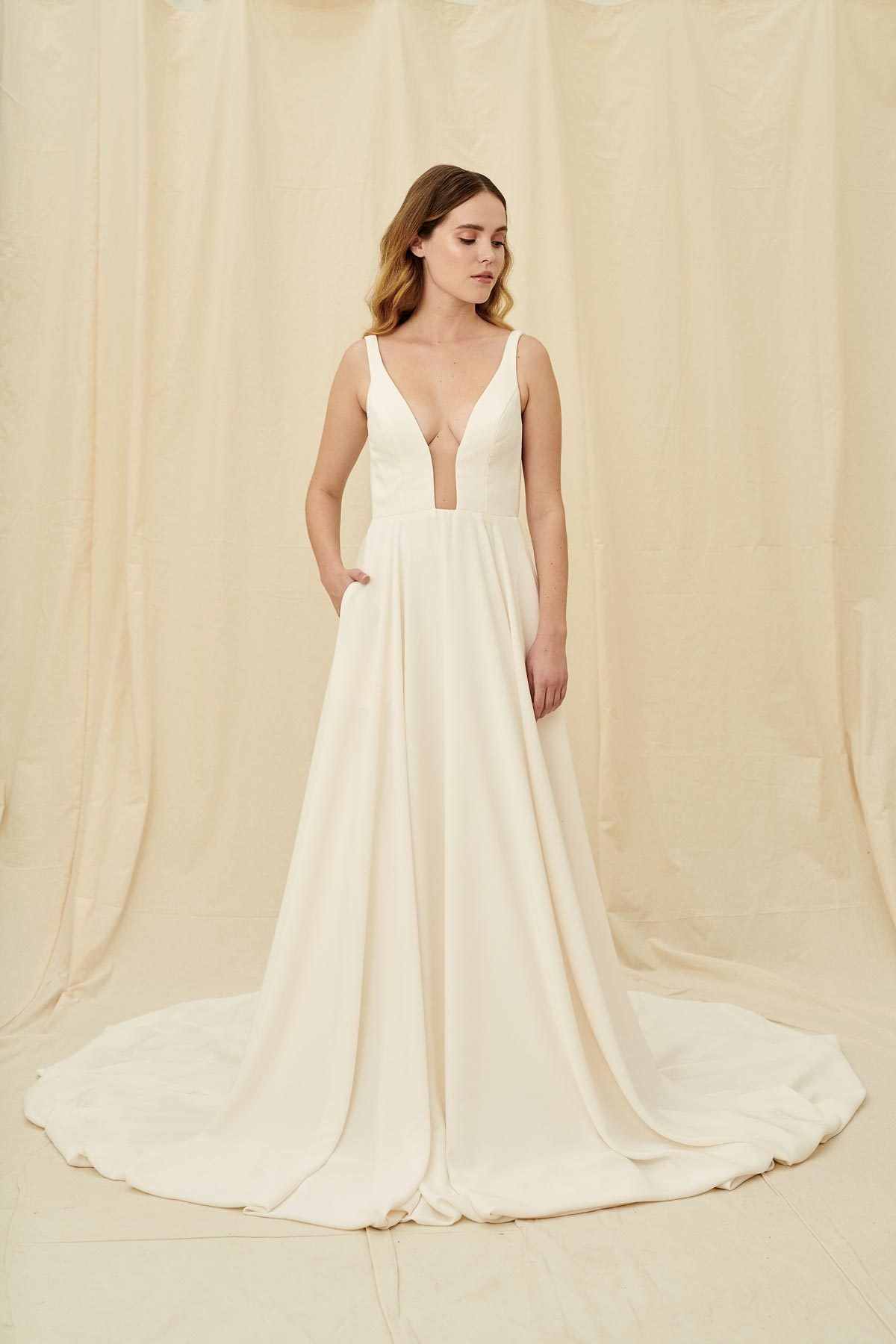 Aesling Selcouth Plunging Neckline Full Skirt Wedding Dress In Full Crepe Made In Vancouver Minimal Wedding Dress Wedding Dress Shopping Crepe Wedding Dress [ 1800 x 1200 Pixel ]