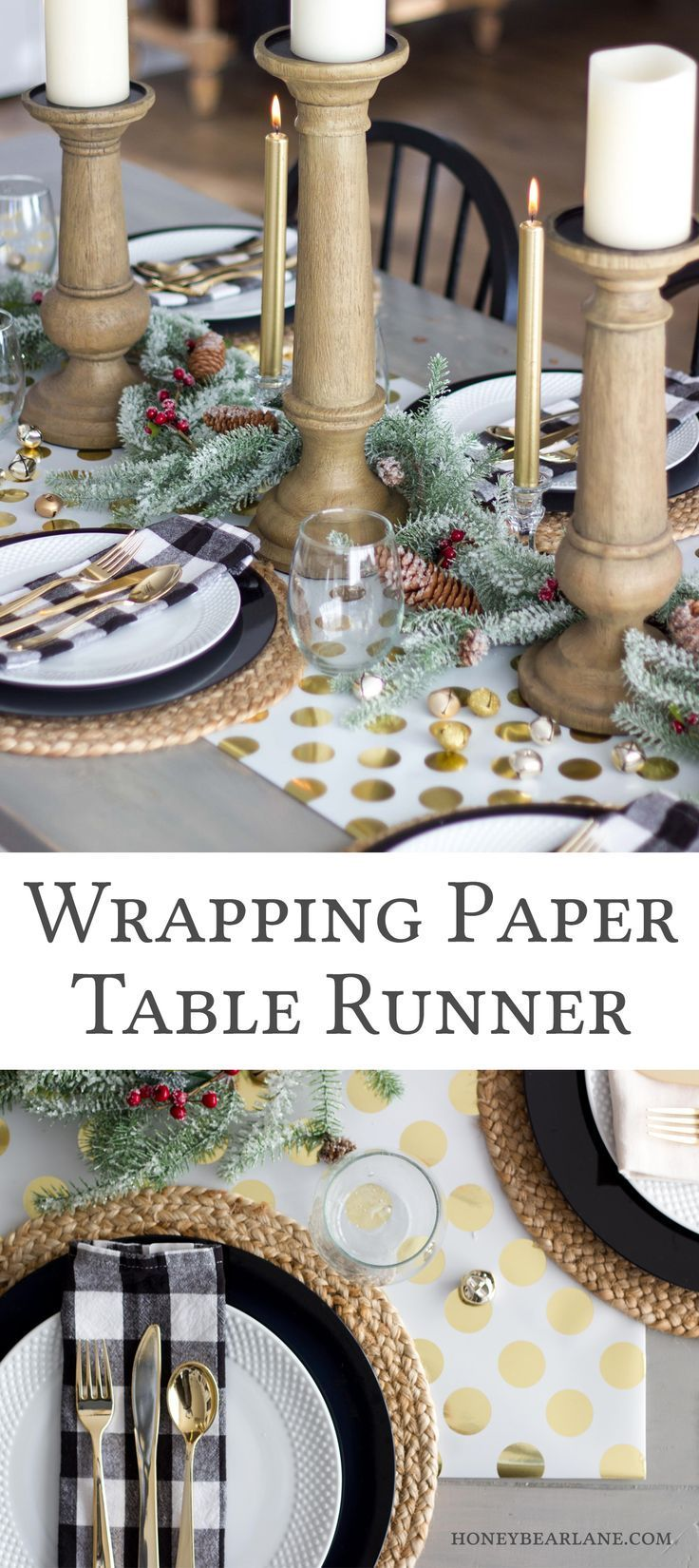 Christmas Table Runner Diy.Easy Wrapping Paper Table Runner Diy Project Ideas Paper