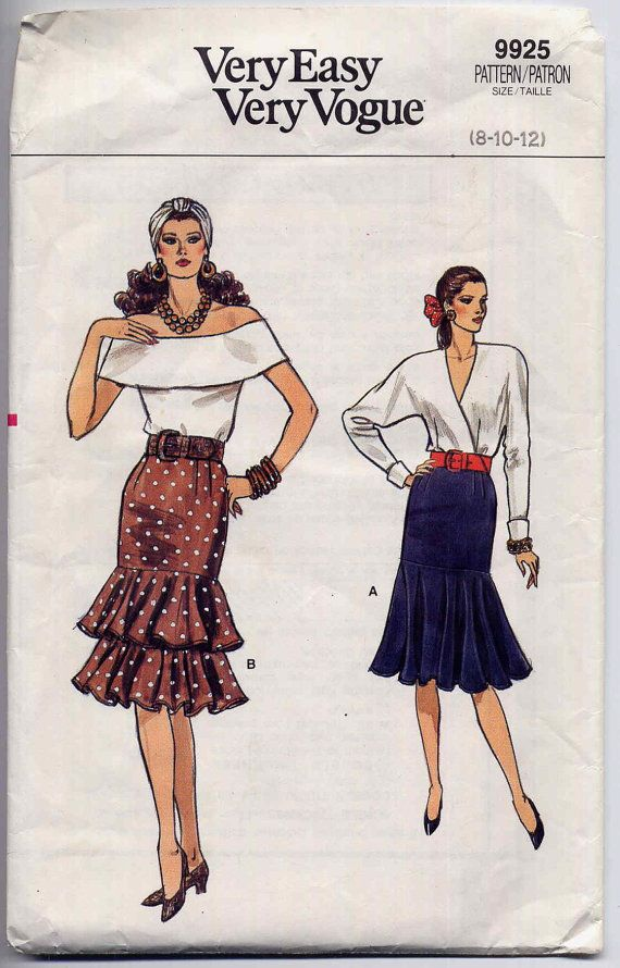 Fishtail Skirt Sewing Pattern Vintage Very Easy Vogue Flounced ...