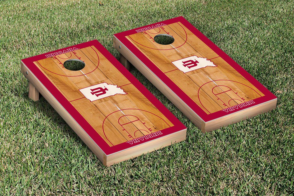 Indiana IU Hoosiers Cornhole Game Set Basketball Court