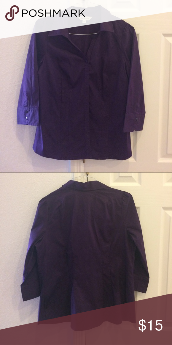 Purple Blouse 👚 This beautiful purple Blouse has 3/4 length sleeves and a V-neck button front. St. John's Bay Tops Blouses