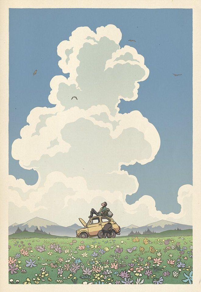 Paysage de Ghibli, art illustré par Bill Mudron. - le site du Japon