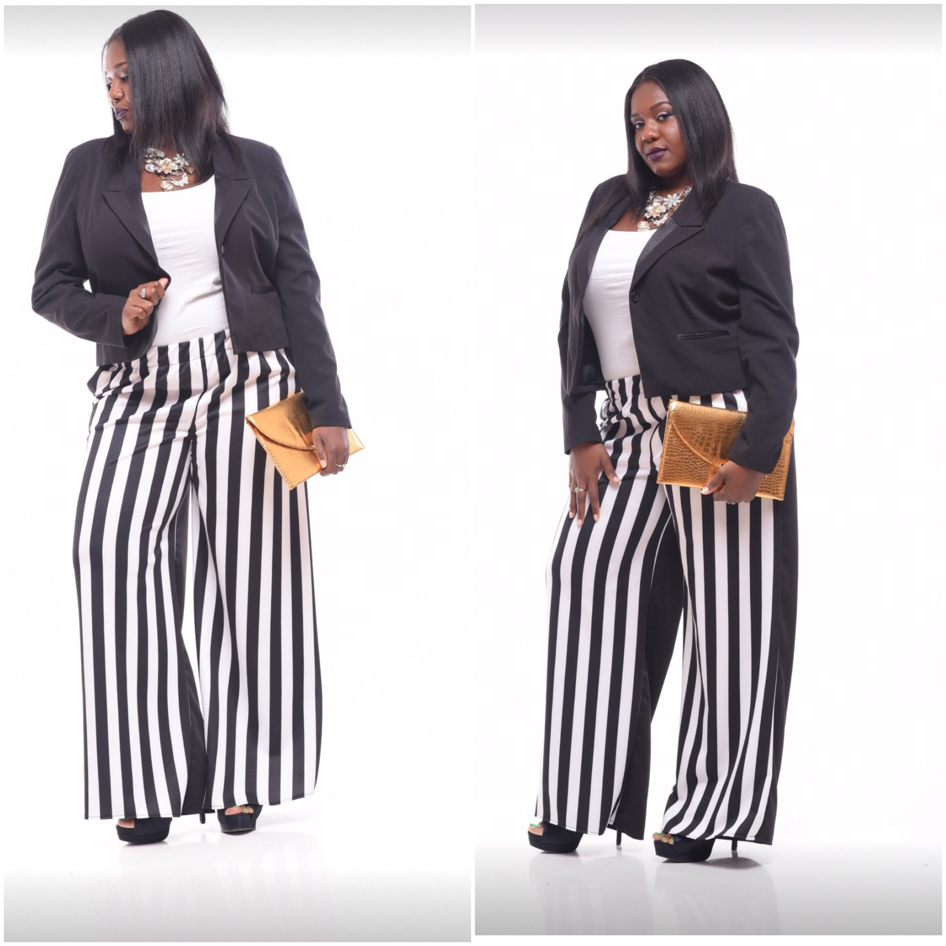 Pinstriped contrast pant