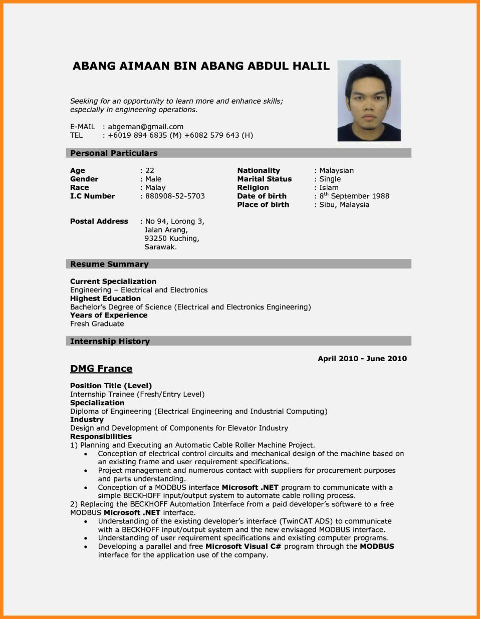 Cv Resume Sample Malaysia Resume Template Cover Letter In 2020