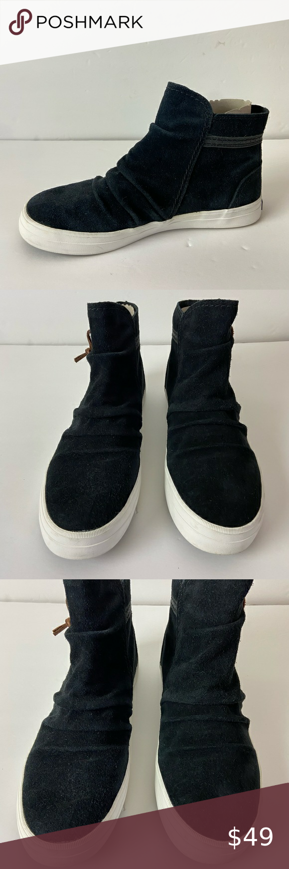 Sperry crest zone black suede high top