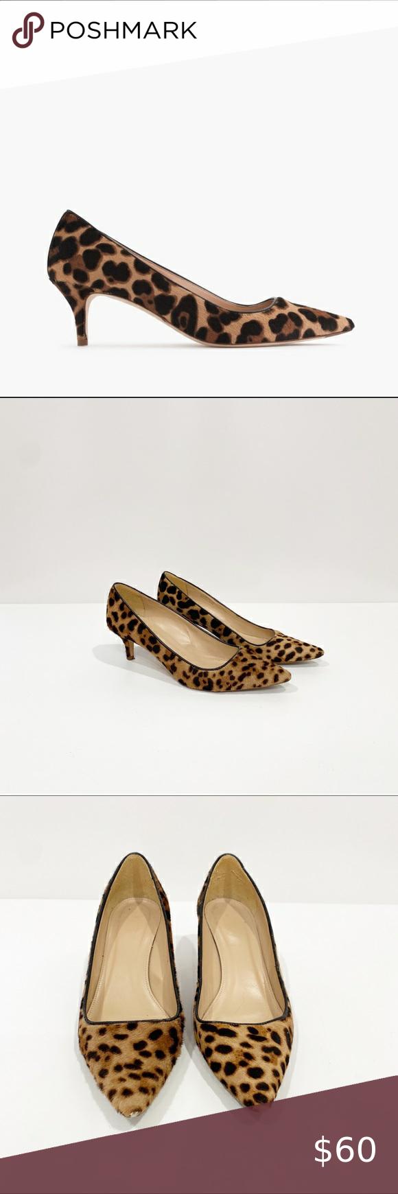 J Crew Dulci Leopard Calf Hair Kitten Heels 7 5 In 2020 Shoes Women Heels Kitten Heels Heels