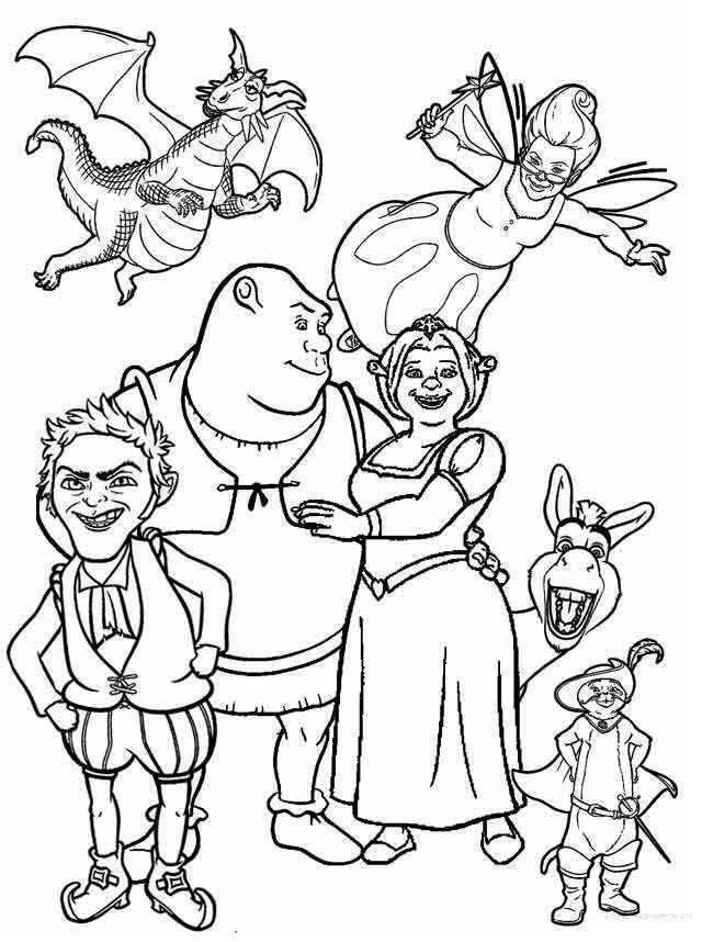 Shrek Fiona and Friends Coloring Page If you like shrek