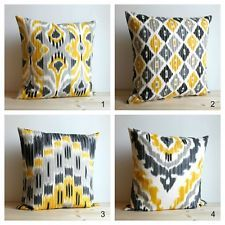 Yellow and Grey Ikat Pillow Cover