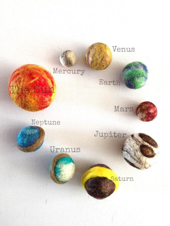 Mini Solar System, in a storage bag, the sun and 8 planets. Toys, wool balls, art toy, handmade toy, learning toy, classroom, #handmadetoys