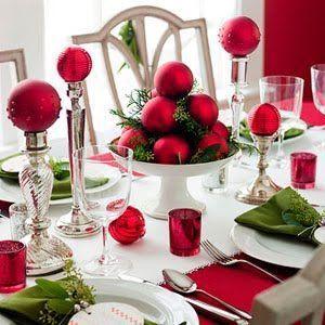 Centros de mesa navideños 2017 2018 con esferas rojas   Table centers