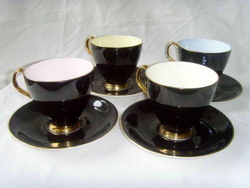 4 Royal Albert 1950 S Bone China Coffee Cups Saucers Black Gold Pastel