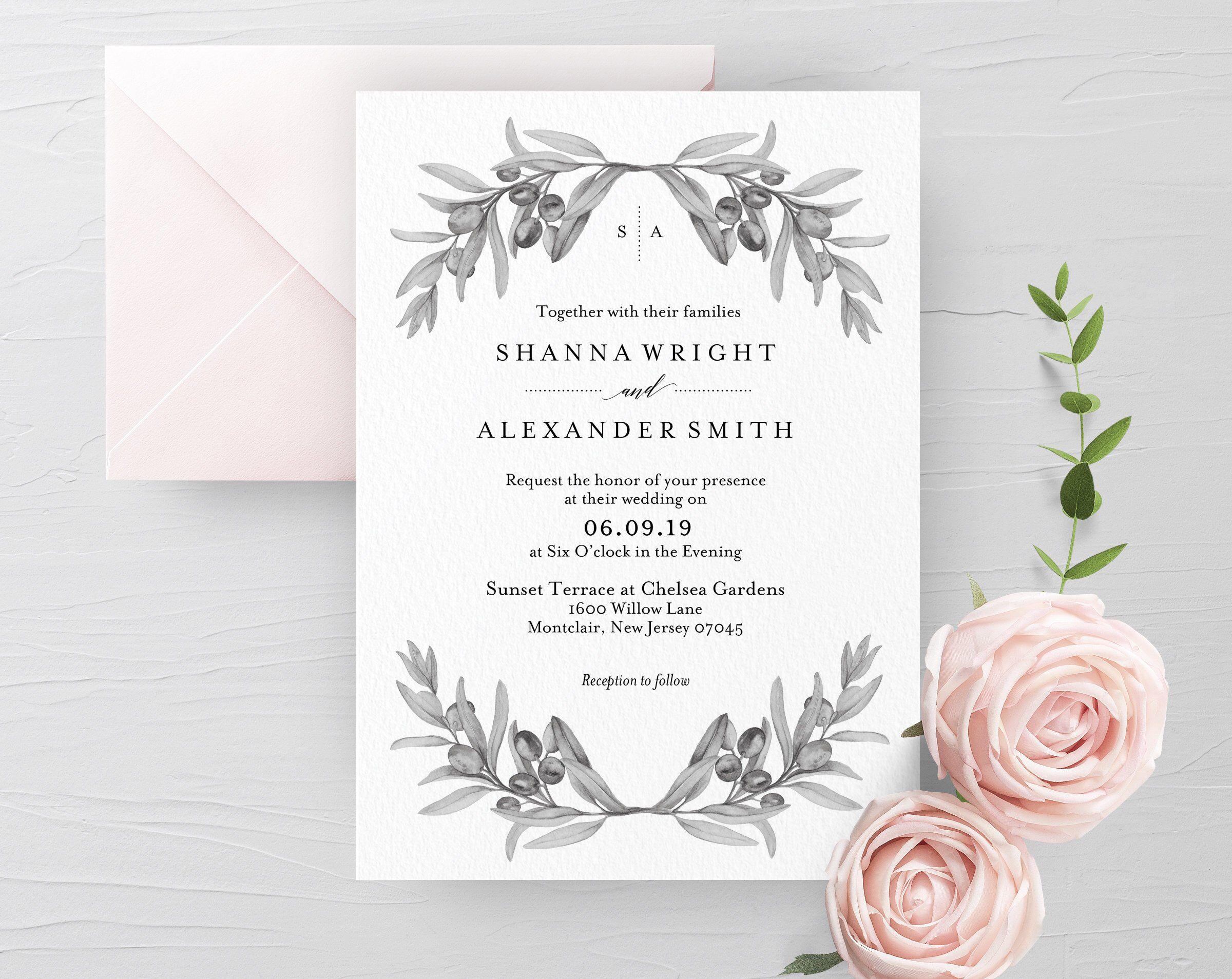 Black White Olive Leaf Wedding Invitation Template Printable Invite: Olive Leaf Wedding Invitation At Websimilar.org