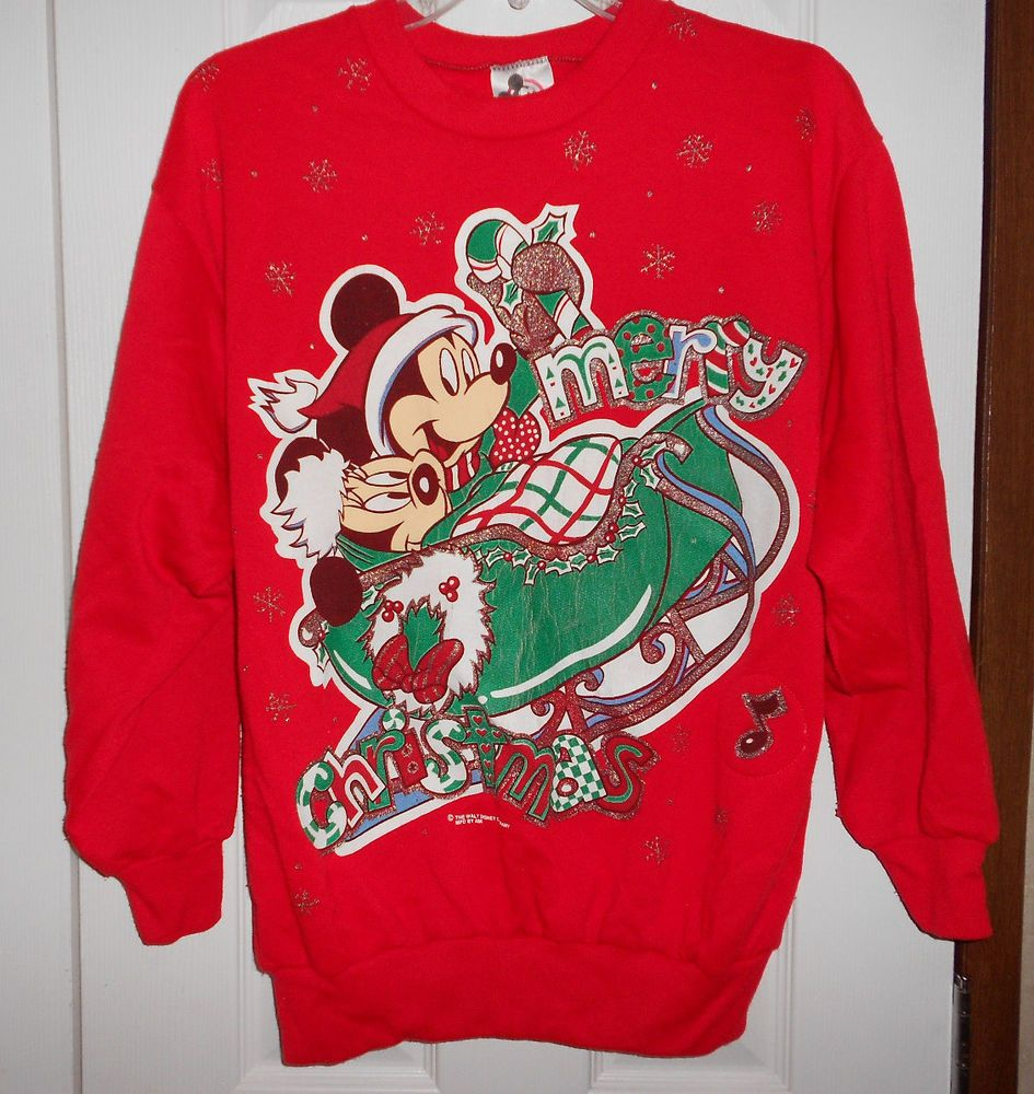 Walt Disney Womens Large Red Mickey Minnie Mouse Glitter Ugly