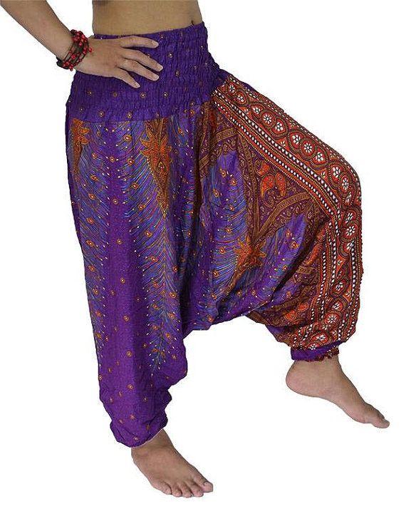 Purple red Thai Harem,Harem Pants Yoga pants Hippie Pants Peacock ...