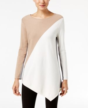 Alfani Asymmetrical Colorblocked Sweater, Only at Macy's - White XXL