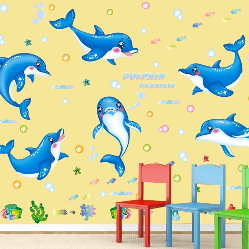 SHIJUEHEZI] Cartoon Dolphins Animal Pattern Wall Sticker for Kids ...