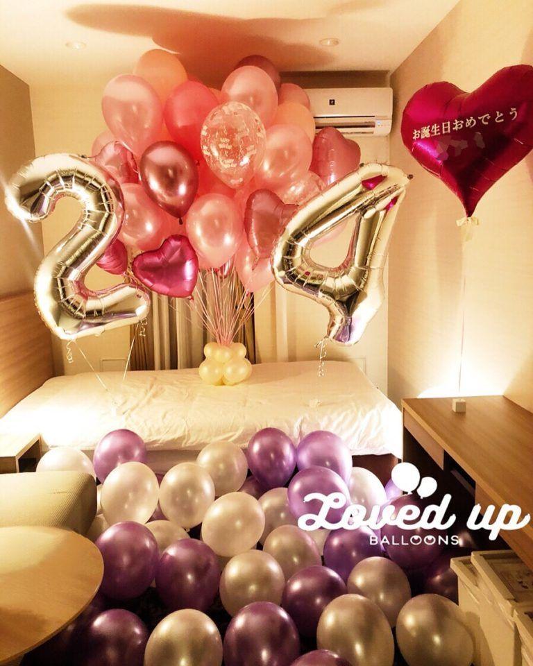 24歳のお誕生日サプライズ ホテルの客室を風船でいっぱいに飾り付けしました 出張バルーンデコレーション専門サービス Loved Up Balloons バルーンデコレーション 誕生日 バルーン バルーン