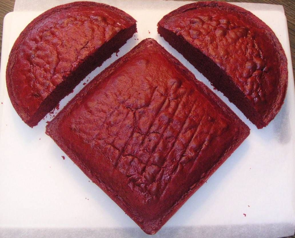 No heart cake pan? Use a square and a round to get a heart shape.