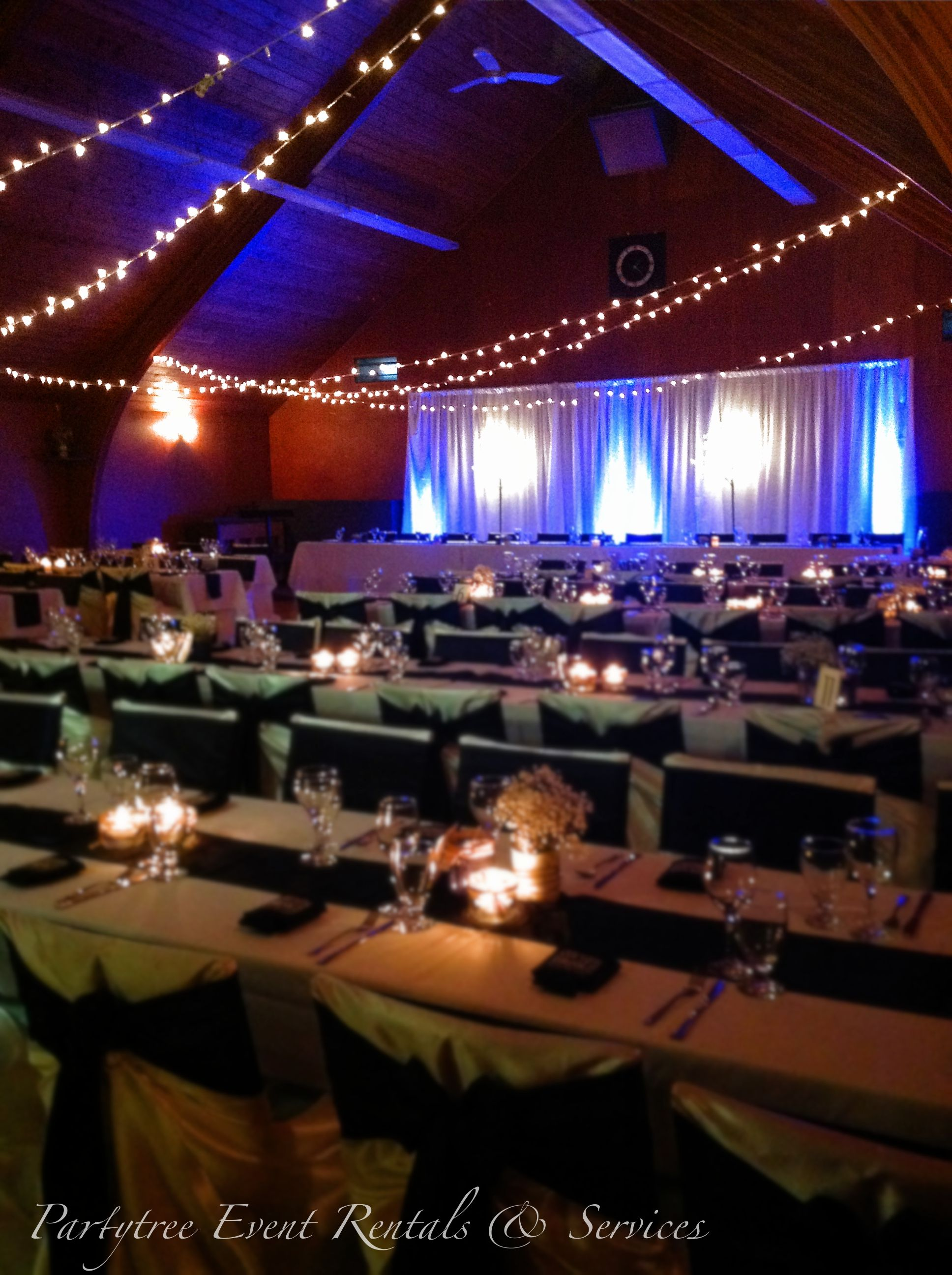 String Lights Blue Themed Wedding Camp River Hall Chilliwack