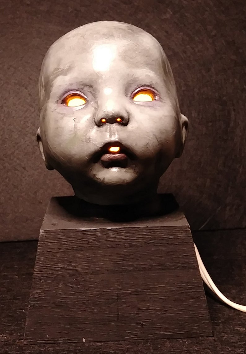 Frighteningly Adorable grey Baby Doll Head desk table lamp ...