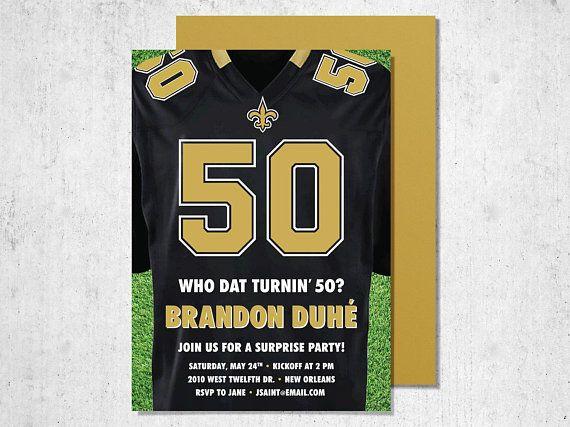 New Orleans Saints Football Themed 50th Birthday Party Printable Invitation