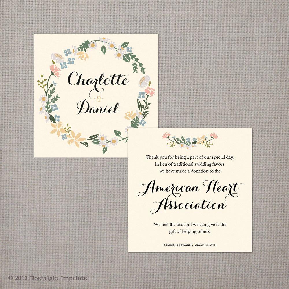 50 Wedding Favor Donation Cards / In lieu of favors / Wedding favor ...
