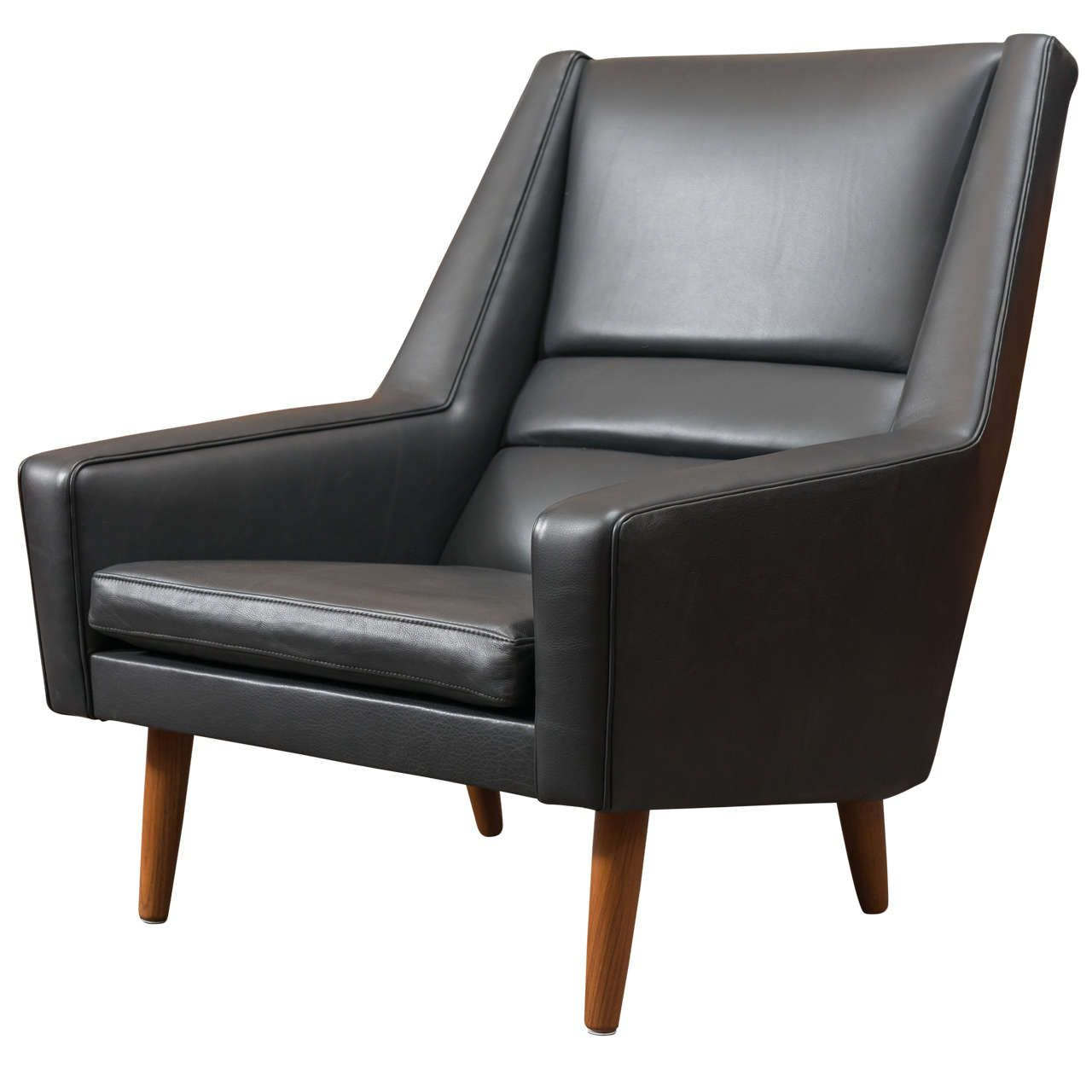 Danish leather high back lounge chair from a unique