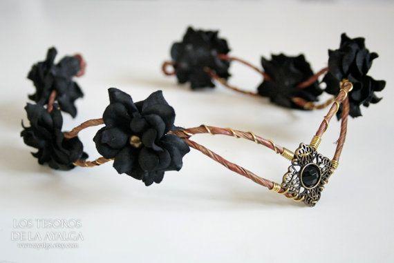 Woodland flower tiara - elven headpiece - fairy crown - woodland tiara - circlet - flower crown - elvish tiara fairy crown - floral tiara #crowntiara