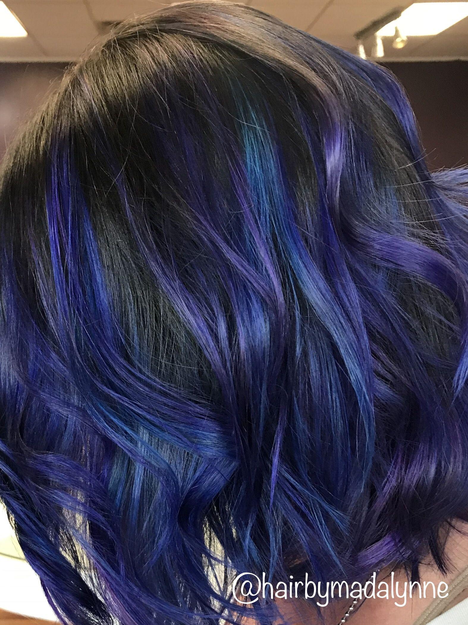 Vibrant blue indigo hair balayage technique hair haircolor