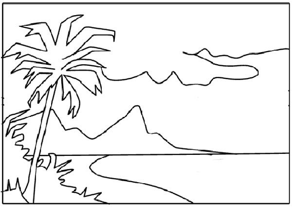 Gambar Mewarnai Gambar Mewarnai Pemandangan Alam Pantai