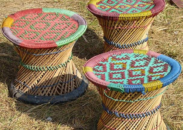 Muda Colorful Handwoven Sitting Stool Chair Affair In
