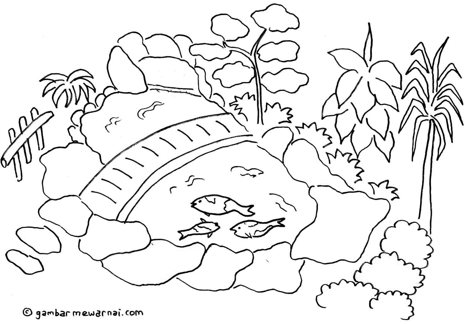 Gambar Mewarnai Kolam Hias Coloring Pages Dunia Embroidery Patterns Projects To Try