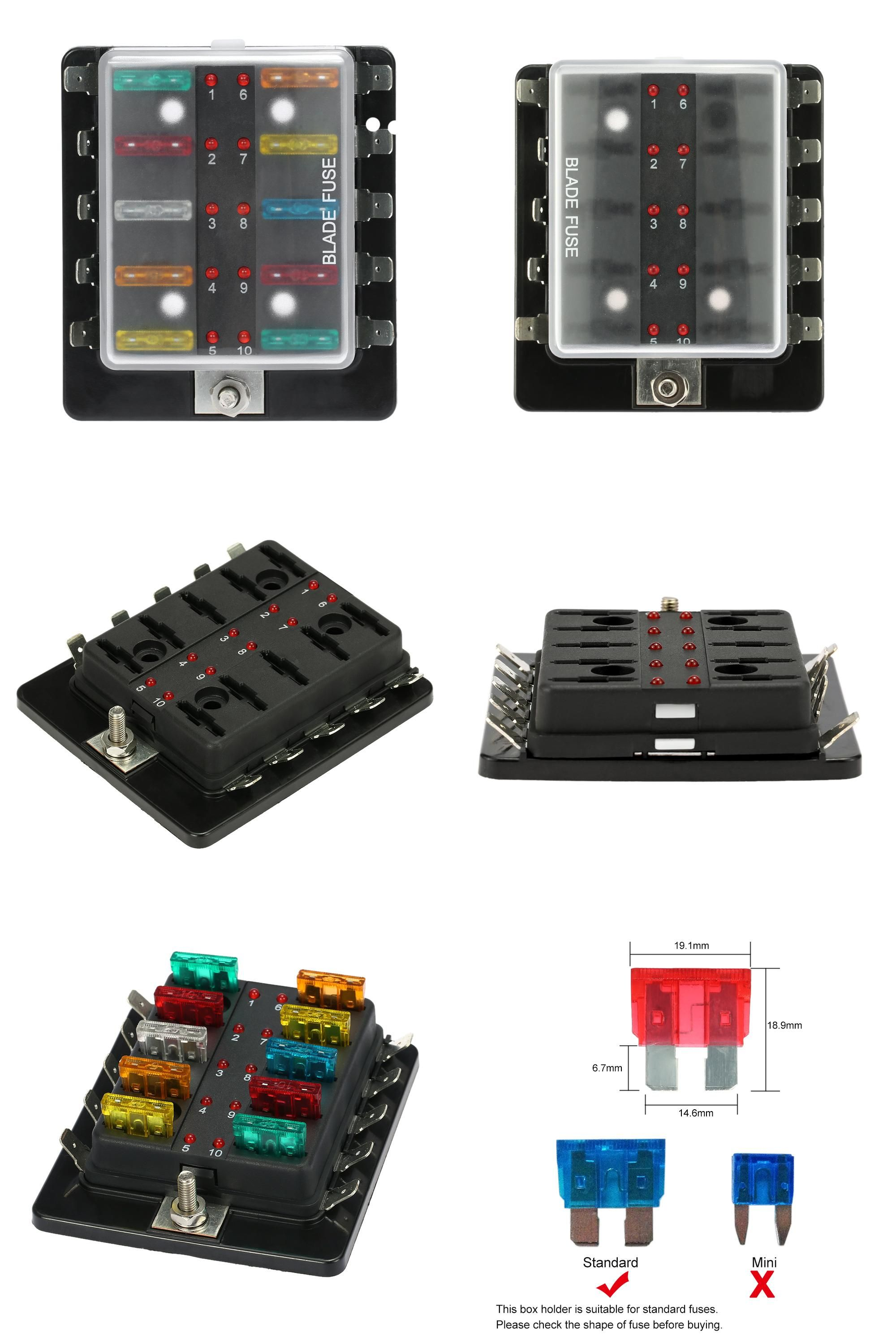 Visit To Buy 10 Way Blade Fuse Box Holder With Led Warning Light Car Parts Kit