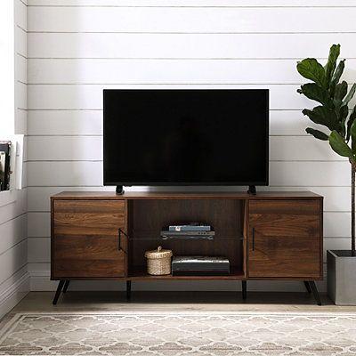 Dark Walnut Mid Century 2 Door Media Cabinet Living Room Tv Stand Home Entertainment Furniture Living Room Tv