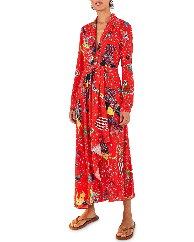 Farm Rio Carnival Long Sleeve Maxi Dress Farmrio Cloth Maxi Dress Maxi Dress With Sleeves Viscose Maxi Dress [ 1500 x 1200 Pixel ]
