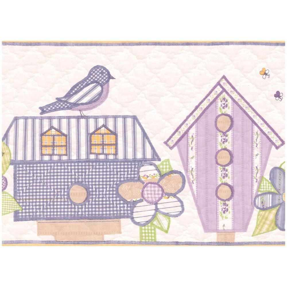 York Wallcoverings Lavender Teal Yellow Birdhouses Flowers