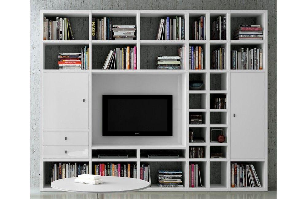 Bibliothèque moderne murale - Mobilier de salon contemporain ...