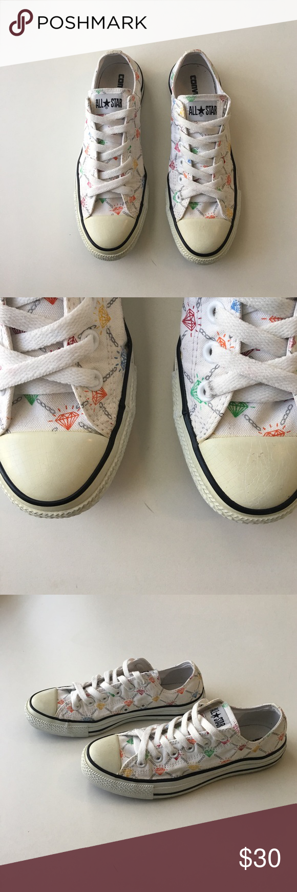 f651b52e97f4 Diamond-Patterned Converse All Stars These Converse All Stars have  multi-colored diamonds on white canvas pattern. I bought these 10+ years  ago