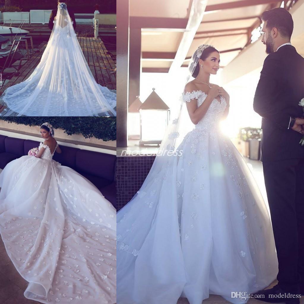 Gorgeous Off Shoulder Wedding Dresses 2019 Backless Chapel Train Flowers Arabic Dubai Chapel Garden Ball Gowns Wedding Wedding Dress Outlet Wedding Dress Hire