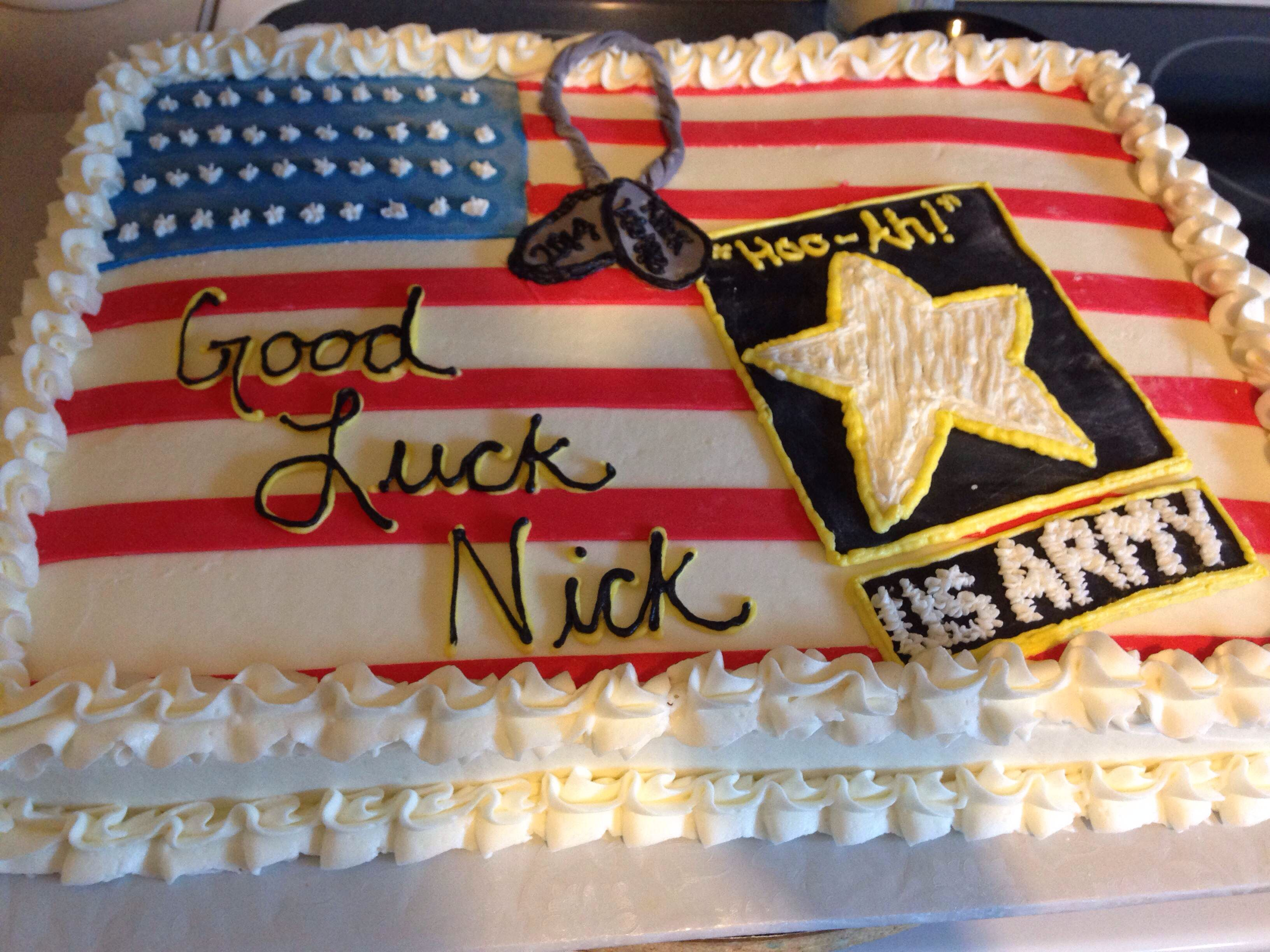 Good Luck Army Cake Army Cake Military Send Off Party Ideas
