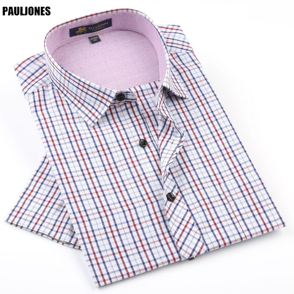 45f1866a Click to Buy << PaulJones 42xx Summer Mens Plaid Short Sleeve Shirts Leisure